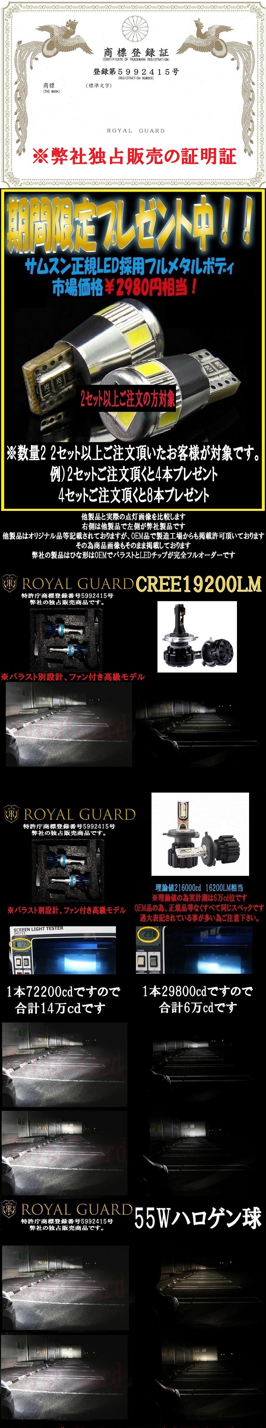 ☆令和新製品☆ 特許庁商標済 Royal Guard 18000LM 車検対応 3000k 4300k 6500k 8000k LED ヘッドライト H4 HI/LO LEDフォグ H8 H11 H16